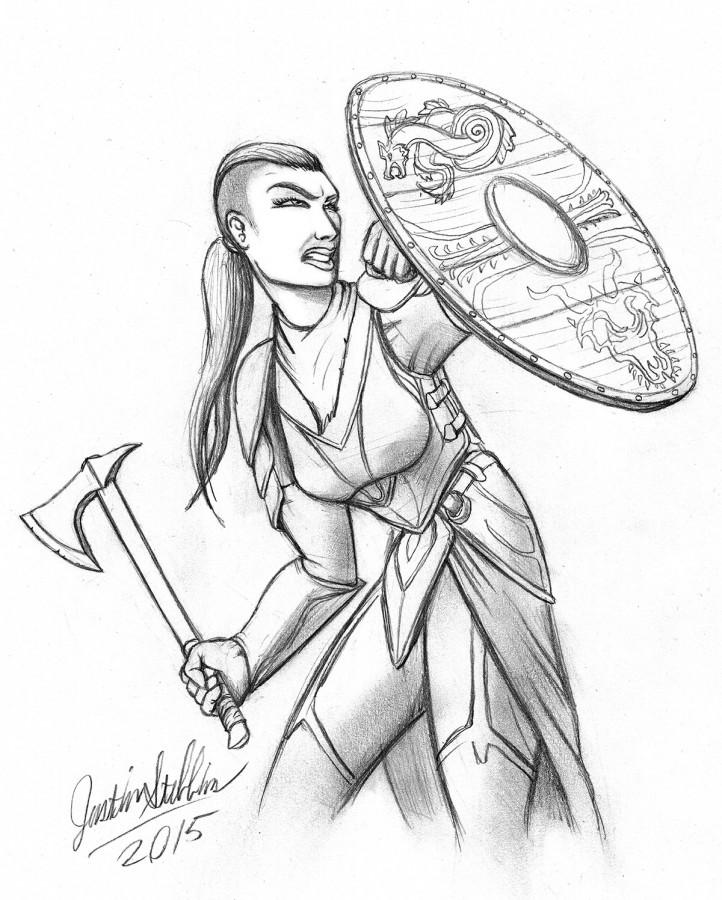 Kickstarter Backer Sketch: Shieldmaiden