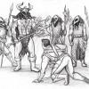 Guntram and the Frost Ravens vs Tom Drake (Knightfall illustration)